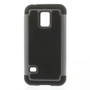 Odolný kryt 2v1 na mobil Samsung Galaxy S5 mini - šedý - 1