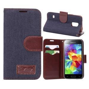 Jeans peňaženkové puzdro pre Samsung Galaxy S5 mini - čiernomodré - 1