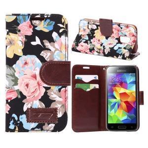 Květinové pouzdro na mobil Samsung Galaxy S5 mini - černé pozadí - 1