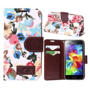 Kvetinové puzdro pre mobil Samsung Galaxy S5 mini - biele pozadie - 1