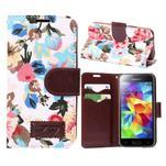 Kvetinové puzdro pre mobil Samsung Galaxy S5 mini - biele pozadie - 1/5
