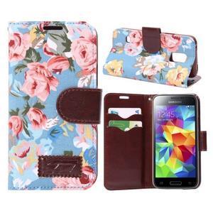 Kvetinové puzdro pre mobil Samsung Galaxy S5 mini - modré pozadie - 1