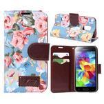 Květinové pouzdro na mobil Samsung Galaxy S5 mini - modré pozadí - 1/5