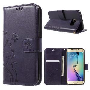 Butterfly PU kožené puzdro pre mobil Samsung Galaxy S6 Edge - fialové - 1