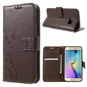 Butterfly PU kožené puzdro pre mobil Samsung Galaxy S6 Edge - coffee - 1