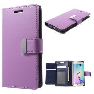 Richdiary PU kožené puzdro pre mobil Samsung Galaxy S6 Edge - fialové - 1