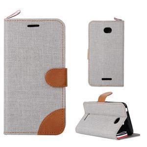 Jeans puzdro pre mobil Sony Xperia E4 - sivé - 1
