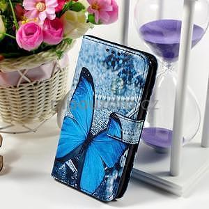 Peňaženkové puzdro pre Sony Xperia E4g - modrý motýľ - 1