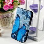 Peňaženkové puzdro pre Sony Xperia E4g - modrý motýľ - 1/7