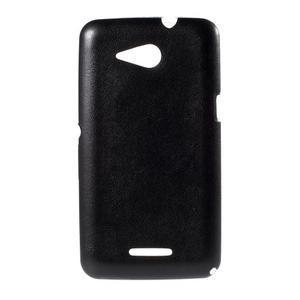 Gélový obal na Sony Xperia E4g s koženkovým chrbtom - čierny - 1
