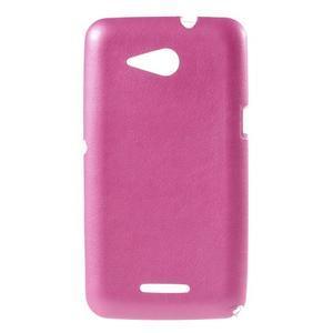 Gélový obal na Sony Xperia E4g s koženkovým chrbtom - ružový - 1
