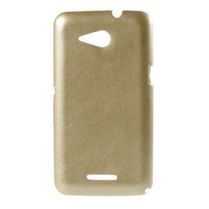 Gélový obal na Sony Xperia E4g s koženkovým chrbtom - zlatý - 1