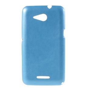Gélový obal na Sony Xperia E4g s koženkovým chrbtom - modrý - 1