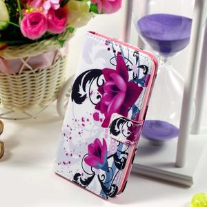 Peňaženkové puzdro pre Sony Xperia E4g - kvety - 1