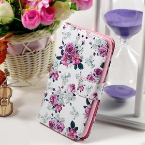 Peňaženkové puzdro na Sony Xperia E4g - kvetinová koláž - 1