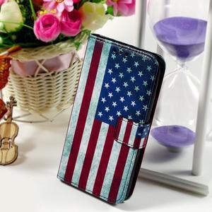 Peňaženkové puzdro pre Sony Xperia E4g - USA vlajka - 1