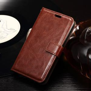 Horse PU kožené puzdro pre mobil Sony Xperia E4g - hnedé - 1