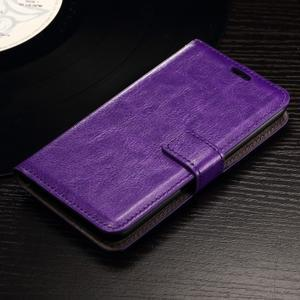 Horse PU kožené puzdro pre mobil Sony Xperia E4g - fialové - 1