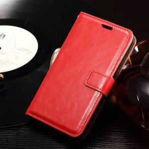 Horse PU kožené puzdro pre mobil Sony Xperia E4g - červené - 1