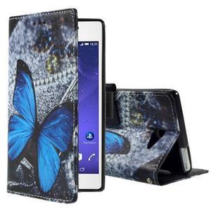 Standy peněženkové pouzdro Sony Xperia M2 Aqua - modrý motýl - 1