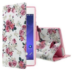 Standy peněženkové pouzdro Sony Xperia M2 Aqua - květiny - 1