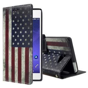 Standy Peňaženkové puzdro Sony Xperia M2 Aqua - US vlajka - 1