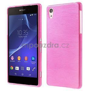 Brúsený gélový obal pre Sony Xperia Z2 - rose - 1