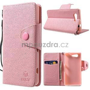 Růžové peněženkové pouzdro na Sony Xperia Z3 Compact - 1