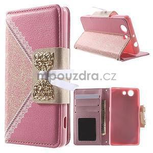 Zapínacie puzdro s mašličkou pre Sony Xperia Z3 Compact - ružové - 1