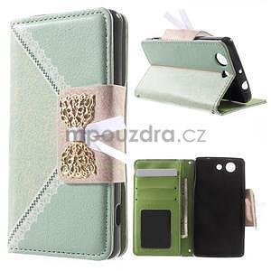 Zapínacie puzdro s mašličkou pre Sony Xperia Z3 Compact - azurové - 1