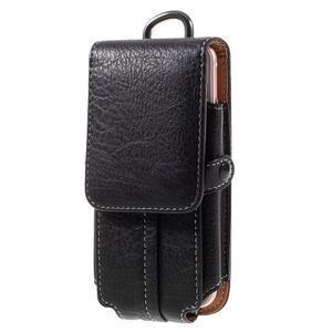 Cestovní PU kožené peňaženkové puzdro do rozmerov 150 x 73 x 15 mm - čierne - 1