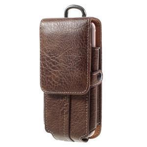 Cestovní PU kožené peňaženkové puzdro do rozmerov 150 x 73 x 15 mm - coffee - 1