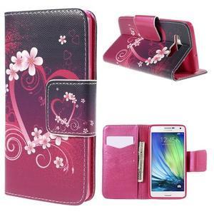 Emotive PU kožené puzdro pre mobil Samsung Galaxy A5 - srdca - 1