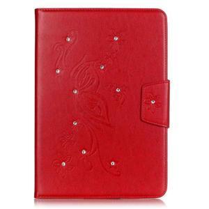 Butterfly PU kožené puzdro pre Samsung Galaxy Tab A 9.7 - červené - 1