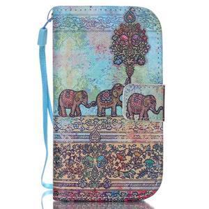 Knížkové PU kožené puzdro pre Samsung Galaxy S3 mini - slony - 1