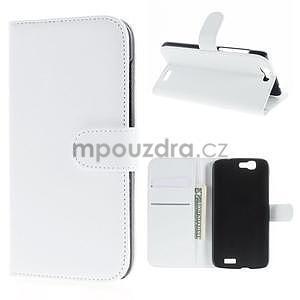 Kožené peňaženkové puzdro na Huawei Ascend G7 - biele - 1