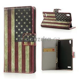 Peňaženkové puzdro na Huawei Ascend P6 - USA vlajka - 1