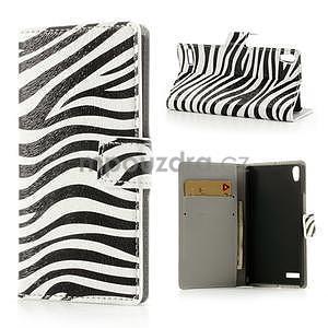 Peňaženkové puzdro na Huawei Ascend P6 - zebra - 1