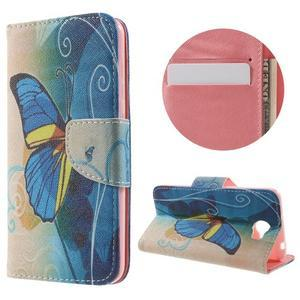 Emotive peněženkové puzdro na Huawei Y5 II - modrý motýl - 1