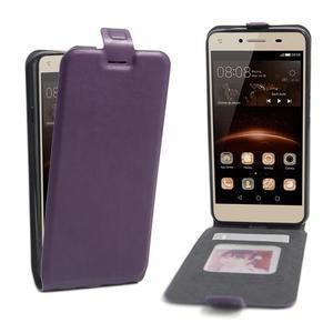 Flipové PU kožené puzdro na Huawei Y5 II - fialové - 1