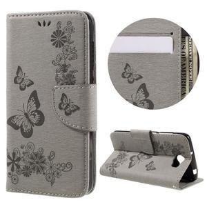 Butterfly PU kožené puzdro na mobil Huawei Y5 II - šedé - 1