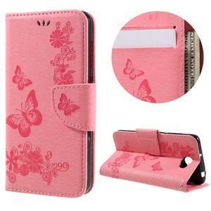 Butterfly PU kožené puzdro na mobil Huawei Y5 II - růžové - 1