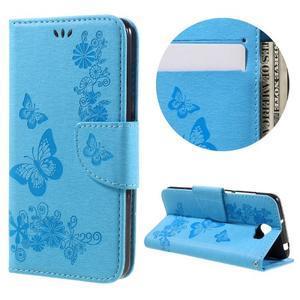 Butterfly PU kožené puzdro na mobil Huawei Y5 II - světlemodré - 1