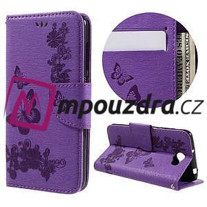 Butterfly PU kožené puzdro na mobil Huawei Y5 II - fialové - 1
