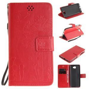 Dandelion PU kožené puzdro na Huawei Y5 II - červené - 1