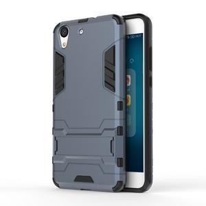 Outdoor odolný obal pre mobil Huawei Y6 II a Honor 5A - šedomodrý - 1