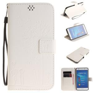 Dandelion PU kožené puzdro na Huawei Y6 II a Honor 5A - bílé - 1