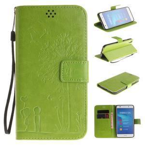 Dandelion PU kožené puzdro na Huawei Y6 II a Honor 5A - zelené - 1