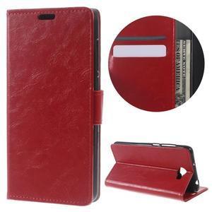 Horses PU kožené puzdro na Huawei Y6 II Compact - červené - 1