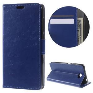 Horses PU kožené pouzdro na Huawei Y6 II Compact - modré - 1